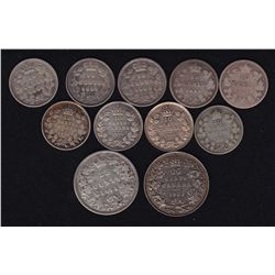 Canadian Decimal Lot - Includes: 1858, 1881H, 1882H, 1898, 1900, 1915, 1918 (2), 1931 Ten Cents. 187