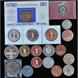 Lot of 19 Centennial Medals, wooden nickels  - Includes: Silver plated Sir John A. MacDonald confede