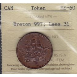 CH PE-10-31 - BR 997; Lees 31, Ships Colonies and Commerce Token ICCS MS-60.