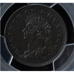 CH NS-1A1 - BR 867, 1823 Nova Scotia Half Penny Token, PCGS AU53. Ex:Temple.