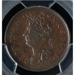 CH NS-1A4  - BR 867, 1823 Nova Scotia Half Penny Token, PCGS AU55. Ex:Temple.