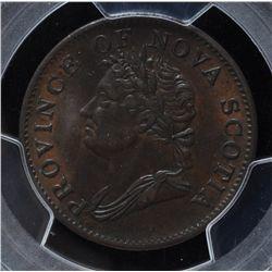 CH NS-1D3 - BR 871, 1832 Nova Scotia Half Penny Token, PCGS AU50. Ex:Temple