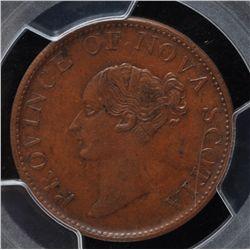CH NS-1F4 - BR 874, 1843 Nova Scotia Half Penny Token, PCGS AU58. Ex:Temple
