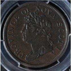 CH NS-2A4 - BR 878, 1824 Nova Scotia One Penny Token, PCGS AU50. Ex:Temple.