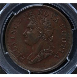 CH NS-4A2 - BR 870, 1832 Nova Scotia One Penny Token, PCGS AU50. Ex:Temple.