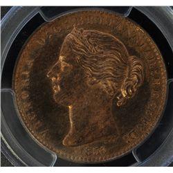 CH NS-6A1  -  BR 875, 1856 Nova Scotia Proof One Penny Token. PCGS PR64RB. Rare.