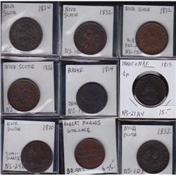 Lot of 9 Nova Scotia Tokens - CH NS-1C2 Fine; CH NS-1D1 Fine; CH NS-1D3 EF; CH NS-1D3 VF; CH NS-5A1