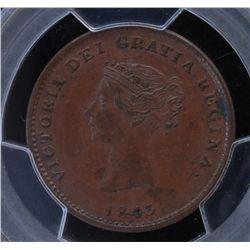 CH NB-1A2 - BR 910, 1843 New Brunswick Half Penny, PCGS MS63 BN. Ex:Temple.