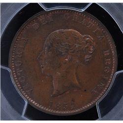 CH NB-1B - BR 912, 1854 New Brunswick Half Penny, PCGS MS64 BN. Ex:Temple.