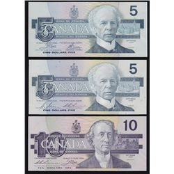 1986-1991 Bank of Canada Bird Series Matching Serial Numbered Seven Note Set - S/N:221 perfect match