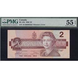 New Discovery   1986 Bank of Canada $2 RARE AUH Thiessen - Crow  Finest Known - PMG AU55 EPQ, totall