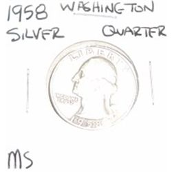 1958 Washington SILVER Quarter *RARE MS HIGH GRADE - NICE COIN*!!