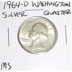 1964-D Washington SILVER Quarter *RARE MS HIGH GRADE - NICE COIN*!!