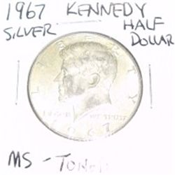 1967 Kennedy SILVER Half Dollar *RARE TONED MS HIGH GRADE - NICE COIN*!!