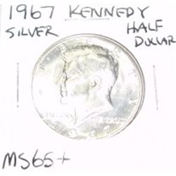 1967 Kennedy SILVER Half Dollar *RARE MS-65+ HIGH GRADE - NICE COIN*!!