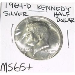 1964-D Kennedy SILVER Half Dollar *RARE MS-65+ HIGH GRADE - NICE COIN*!!