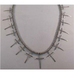 Navajo Sterling Hollow Bead Cross Necklace