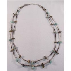Navajo Sterling Turquoise Cat's Eye Necklace