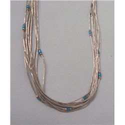 Navajo Liquid Silver Turquoise 10 Strand Necklace