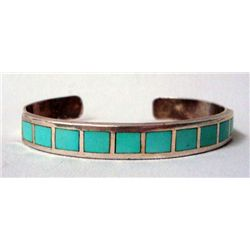 Zuni Sterling Channel Inlay Bracelet
