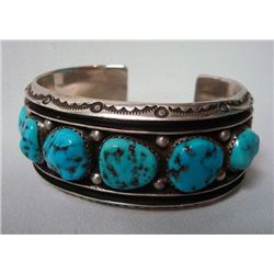 Navajo Silver Turquoise Cuff Bracelet - Touchine