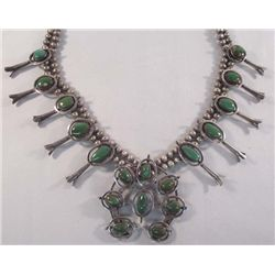 Navajo Sterling Turquoise Squash Blossom Necklace