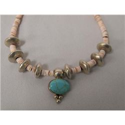 Silver Turquoise Heishi Shell Necklace