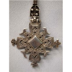Sterling Silver Woven Cross Pendant Necklace