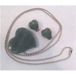 Jade Heart Necklace & Earrings
