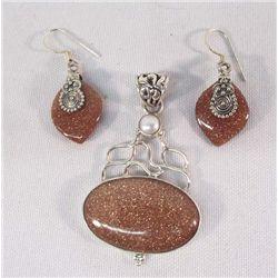 Sterling Silver Sunstone Pendant & Earrings