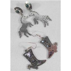 2 Pair Sterling Silver Western Style Earrings