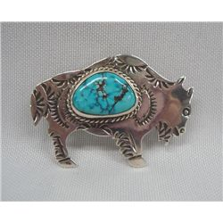 Navajo Sterling Turquoise Buffalo Pin/Pendant