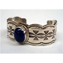 Navajo Sterling Lapis Bracelet - Bea Yellowhorse