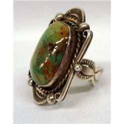 Navajo Turquoise Silver Ring - Albert Cleveland