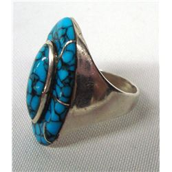 Navajo Turquoise Silver Channel Inlay Ring