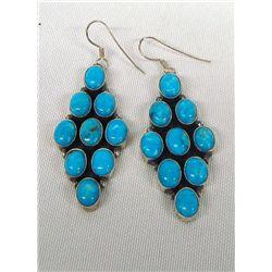 Navajo Sterling Turquoise Chandelier Earrings