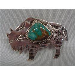 Navajo Silver Turquoise Buffalo Pin/Pendant - AJC