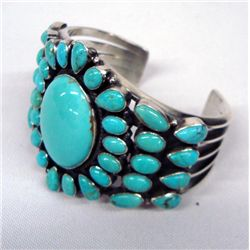 Navajo Sterling Turquoise Cluster Bracelet - Smith