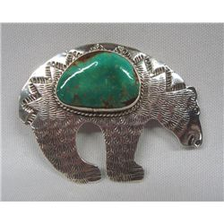 Navajo Sterling Turquoise Bear Pin/Pendant - AJC