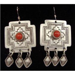 Navajo Silver Coral Cross Earrings - Harrison Joe