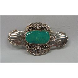 Navajo Turquoise Sterling Overlay Pin -A Cleveland