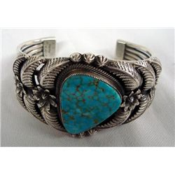 Navajo Sterling Turquoise Bracelet - Kirk Smith