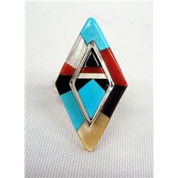 Zuni Sterling Stone to Stone Inlay Ring - P Chee