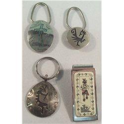 Navajo & Hopi 3 Key Chains 1 Money Clip