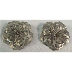 2 Mexican Sterling Floral Pins