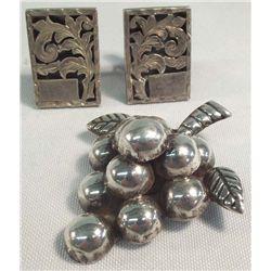 Mexican Silver Cuff Links & Grape Pin