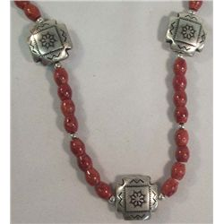 Beaded Necklace With Puffed Metal Beads