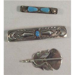 3 Navajo Hair Barrette, Pendant & Tie Clip
