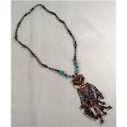 Hand Beaded Cat Face Necklace