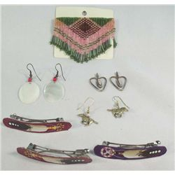 5 Pieces Jewelry - Barrettes, Pin & Earrings